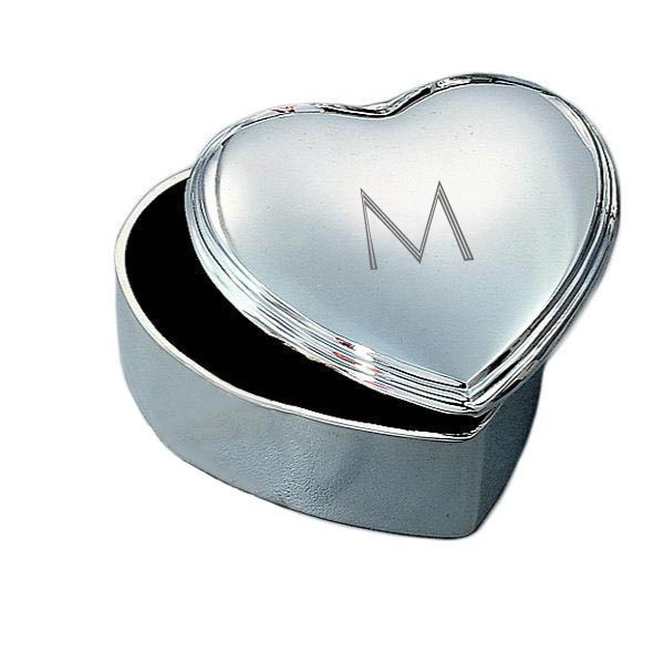 Heart shaped jewelry box with nickel plating and engraved for Jewelry box with initials