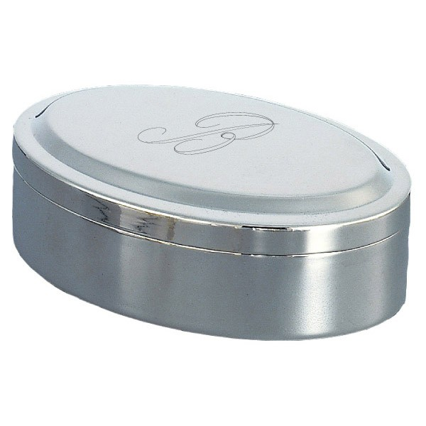Simple oval jewelry box nickel plate with engraved for Jewelry box with initials