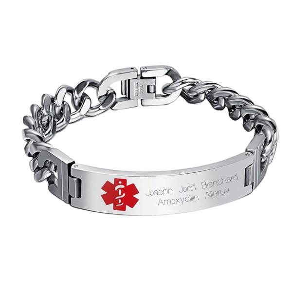 engraved medical alert id bracelet forallgifts