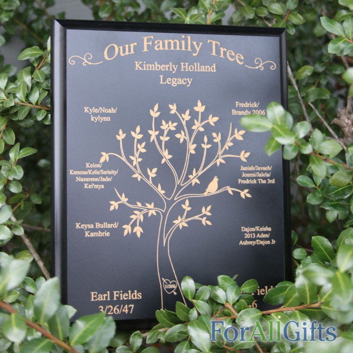 Personalized black family tree plaque forallgifts for Family tree gifts personalized