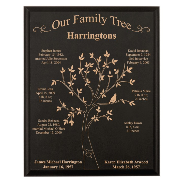 Large black personalized family tree plaque forallgifts for Family tree gifts personalized