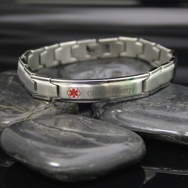 personalized steel link medical id bracelet forallgifts