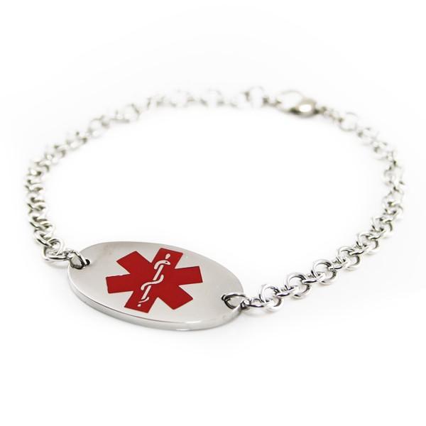 engraved oval tag medical id bracelet forallgifts
