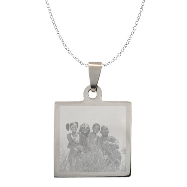 photo engraved square picture necklace forallgifts