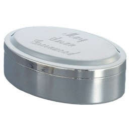 Personalized Silver Oval Lift Top Jewelry Box