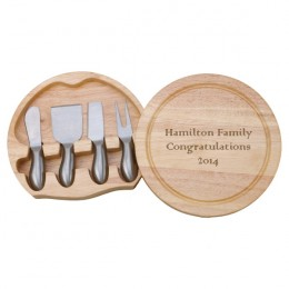Round Wood Cheese Board with Stainless Steel Tools