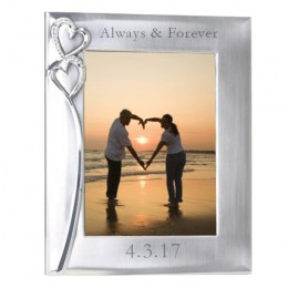 Two Hearts Silver Finish Personalized Photo Frame - 5 x 7
