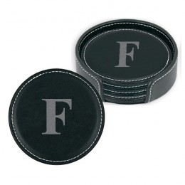 Engraved Leather Coaster Set of 4