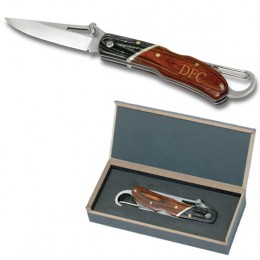 Engraved Pocket Knife with Rosewood Handle