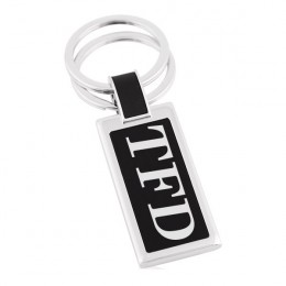 Engraved Silver & Black Rectangle Double Ring Key Chain