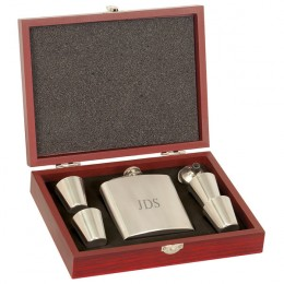 Flask & Shot Glass & Funnel Gift Set in Engraved Rosewood Box