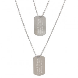 Engraved Classic Stainless Steel Dog Tags - Set of Two