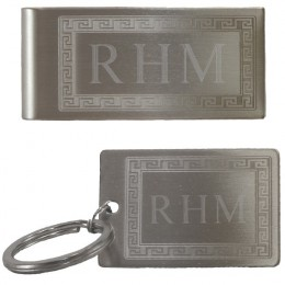 Monogram Greek Design Key Chain and Money Clip Set
