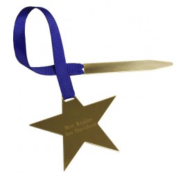Personalized Gold Star Bookmark-Blue Ribbon-Award