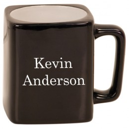 Engraved Square Black Ceramic Mug-Gifts for Him