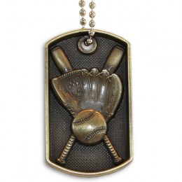 3D Bronze Personalized Baseball Dog Tag