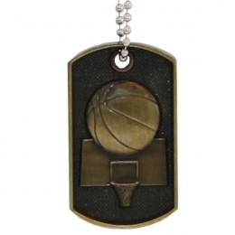 3D Bronze Personalized Basketball Dog Tag