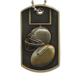 3D Bronze Personalized Football Dog Tag