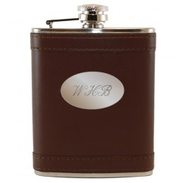 Monogrammed Brown Leather Flask