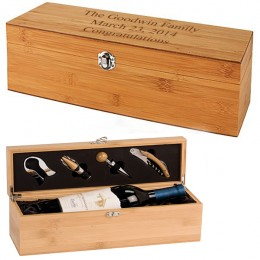 Personalized Bamboo Boxed Wine Tool Set