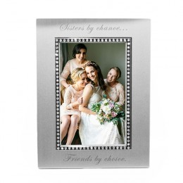 Engraved Photo Frame with Crystal Bead Border - 4 x 6