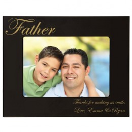 Father's Gold Engraved Black 4 x 6 Photo Frame