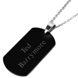 Black Dog Tag with Engraved Name