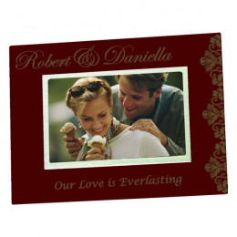 Personalized Wood Couples Frame with Silver Accent