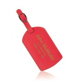 Deluxe Red Personalized Luggage Tag with Strap