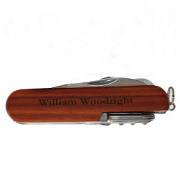 13 Function Personalized Multi Tool with Wooden Handle