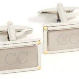 Designer Style Rectangle Engraved Cufflinks with Gold Accent