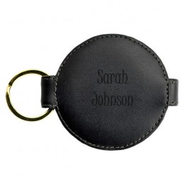 Personalized Black Leather Round Compact Mirror