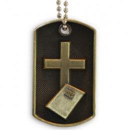 3D Bronze Personalized Cross & Bible Dog Tag