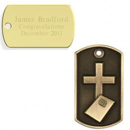 Engraved Cross & Bible 3D Dog Tag