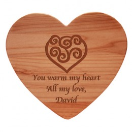Heart Design Serving & Cutting Board with Engraved Message