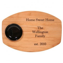 Engraved Message Bread & Oil Board with Black Bowl