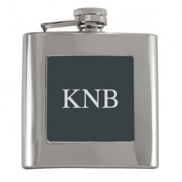 Monogrammed Flask with Black Plate
