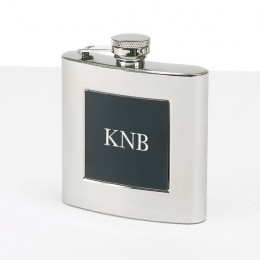 Black Front Stainless Steel Flask with Monogram