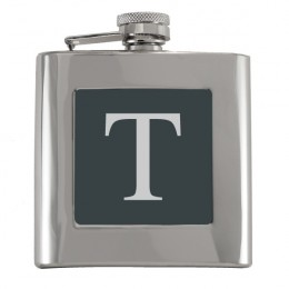 Single Initial Engraved Flask with Black Plate