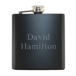 Personalized Black Steel Flask with Name