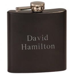 Personalized Black Steel Flask