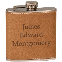 Personalized Brown Leather Flask