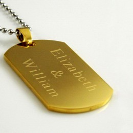 Gold Plated Engraved Rounded Dog Tag