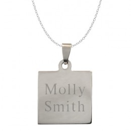 Personalized Name Square Tag Pendant