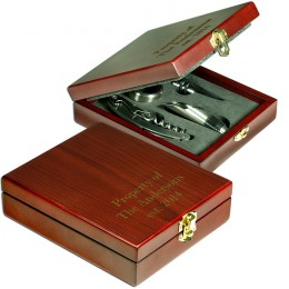 Four Piece Wine Set in Engraved Rosewood Box