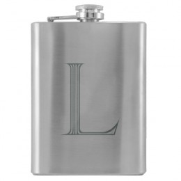 Stainless Steel Flask with Engraved Initial