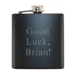 Engraved Black Stainless Steel Flask