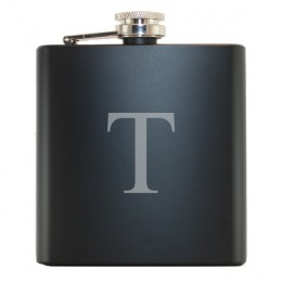 Single Initial Black Drinking Flask