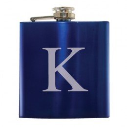 Blue 6 Oz Stainless Steel Flask with Initial