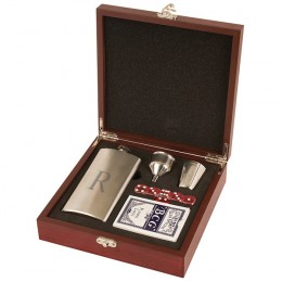 Single Initial Flask and Playing Card Set